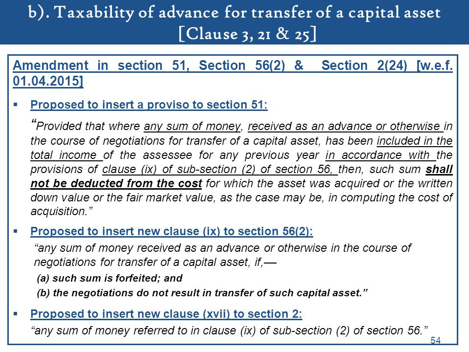 b). Taxability of advance for transfer of a capital asset [Clause 3, 21 & 25]
